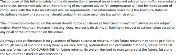 Disclaimer; Socially Responsible Investing